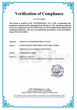 6W ICES-003 certificate