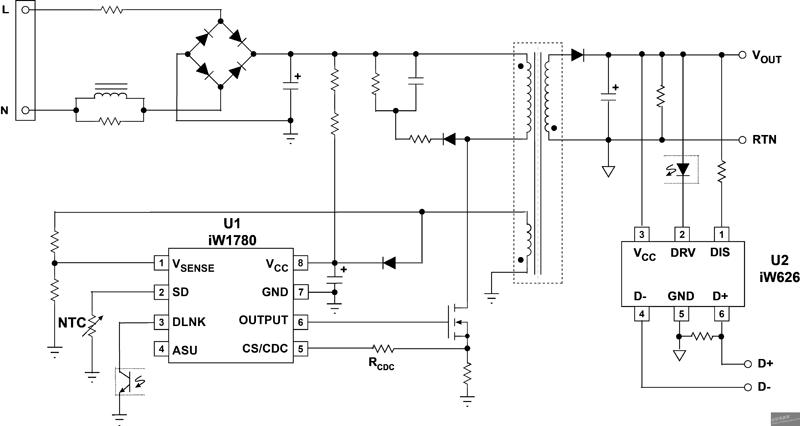 该特性支持cc-cv便携式电源适配器电路中的正常运行,而无需任何附加