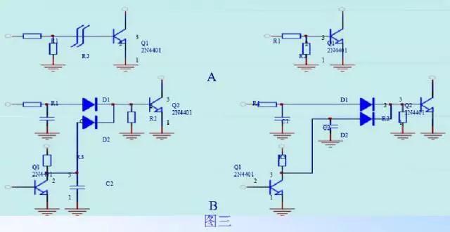 三、小信号线处理:电路板布线尽量集中,减少布板面积提高抗干扰能力。 四、一个电流回路走线尽可能减少包围面积。  如:电流取样信号线和来自光耦的信号线 五、光电耦合器件,易于干扰,应远离强电场、强磁场器件,如大电流走线、变压器、高电位脉动器件等。 六、多个IC等供电,Vcc、地线注意。  串联多点接地,相互干扰。 七、噪声要求 1、尽量缩小由高频脉冲电流所包围的面积,如下(图一、图二)  一般的布板方式  2、滤波电容尽量贴近开关管或整流二极管如上图二,C1尽量靠近Q1,C3靠近D1等。 3、脉冲电流流过