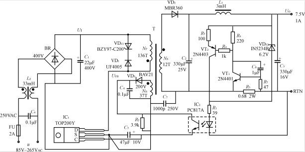 5v1a恒压/恒流输出式电源适配器的电路如图9-49所示它采用一片tp200y