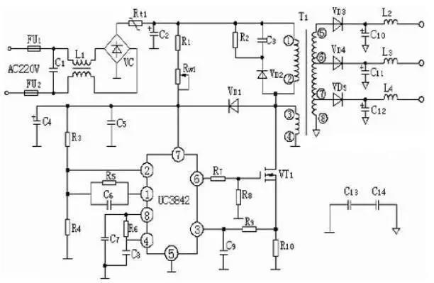 UC3842工作原理 下图为UC3842 内部框图和引脚图,UC3842 采用固定工作频率脉冲宽度可控调制方式,共有8 个引脚,各脚功能如下: 脚是误差放大器的输出端,外接阻容元件用于改善误差放大器的增益和频率特性; 脚是反馈电压输入端,此脚电压与误差放大器同相端的2.5V 基准电压进行比较,产生误差电压,从而控制脉冲宽度; 脚为电流检测输入端, 当检测电压超过1V时缩小脉冲宽度使电源处于间歇工作状态; 脚为定时端,内部振荡器的工作频率由外接的阻容时间常数决定,f=1.