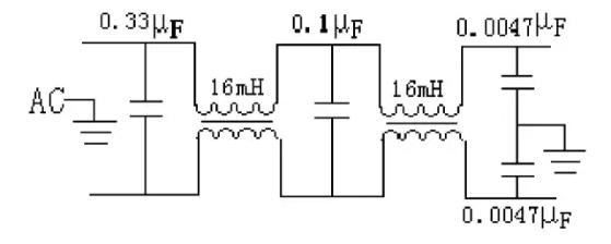 当适配器的谐波电平在低频段(频率范围0.15~30MHz)表现在电源线上时,称之为传导干扰。要抑制传导干扰相对比较容易,只要使用适当的EMI滤波器,就能将其在电源线上的EMI信号电平抑制在相关标准规定的限值内。 要使EMI滤波器对EMI信号有最佳的衰减性能,则滤波器阻抗应与电源适配器阻抗失配,越失配,实现的衰减越理想,得到的插入损耗特性就越好。也就是说,如果噪音源内阻是低阻抗的,则与之对接的EMI滤波器的输入阻抗应该是高阻抗(如电感量很大的串联电感);如果噪音源内阻是高阻抗的,则EMI滤波器的输入阻抗应该